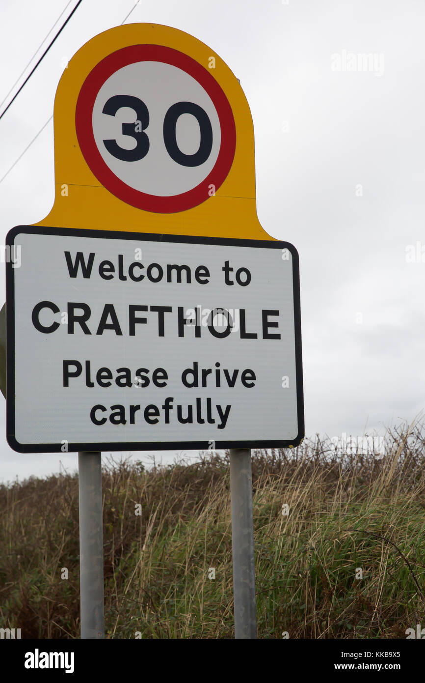 Welcome to Crafthole sign - Stock Image