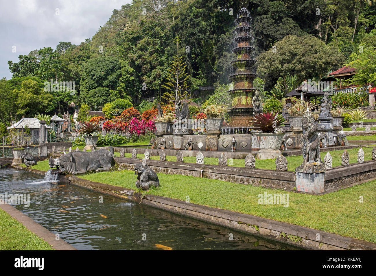 Fountain at Tirta Gangga, former royal water palace at Ababi, Karangasem near Abang in eastern Bali, Indonesia - Stock Image