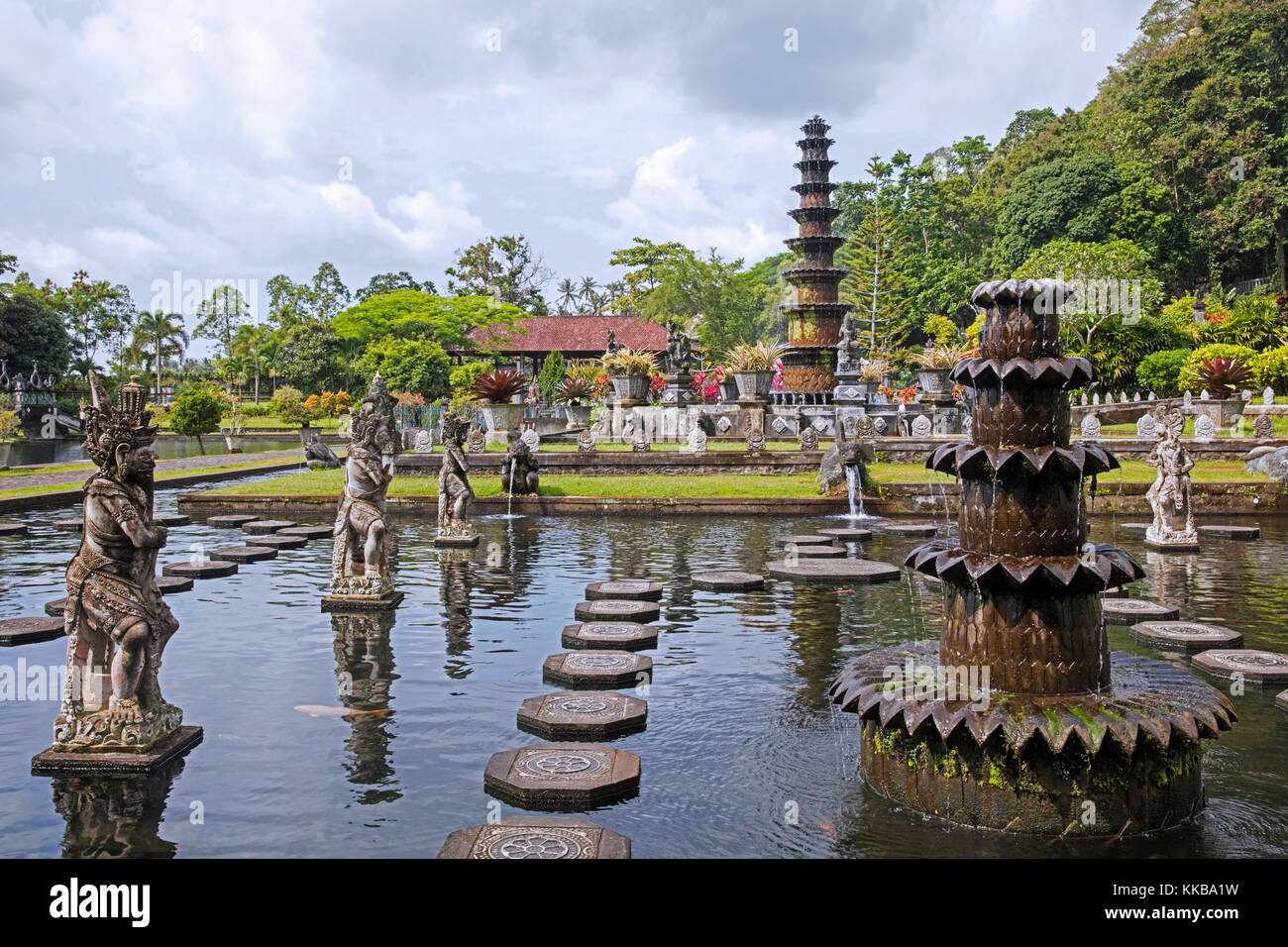 Ponds and fountains at Tirta Gangga, former royal water palace at Ababi, Karangasem near Abang in eastern Bali, - Stock Image