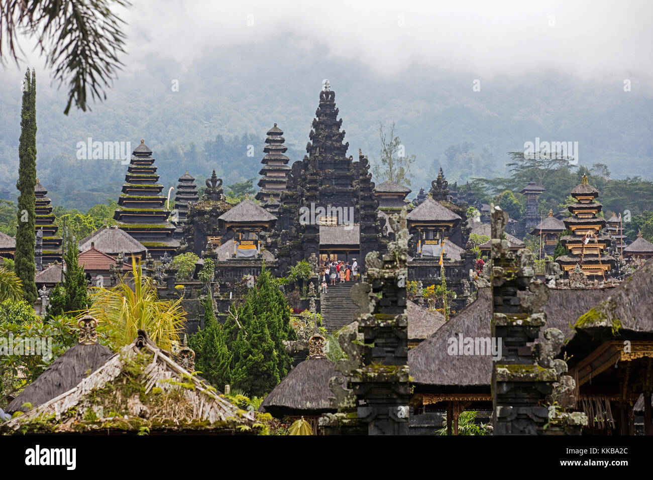 Pura Besakih, largest and holiest temple of Hindu religion in Bali on the slopes of Mount Agung, volcano in eastern - Stock Image