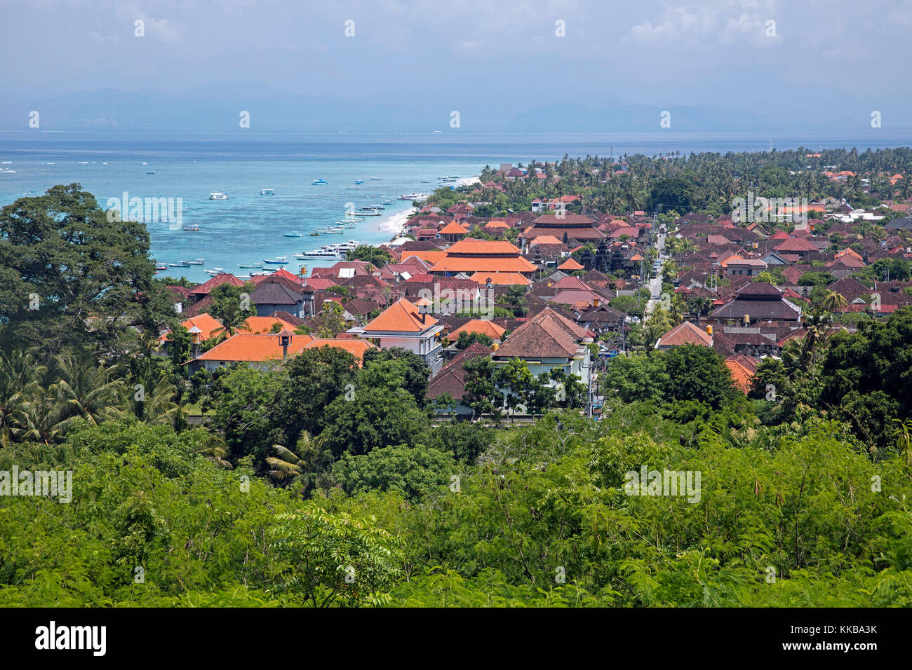 Aerial View Over The Coastal Village Jungut Batu Jungutbatu On The Stock Photo Alamy