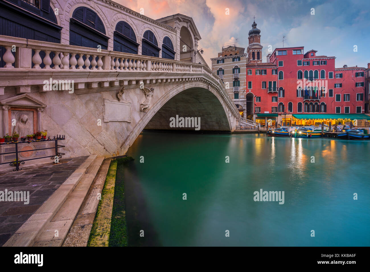 Venice. Cityscape image of Venice with famous Rialto Bridge and Grand Canal. - Stock Image