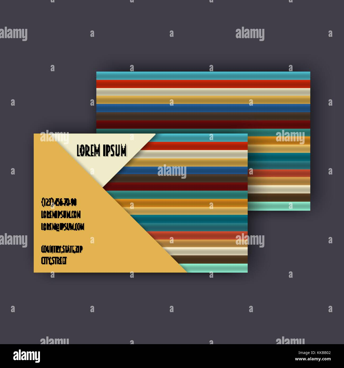 Business card template with 3d paper colorful lines background stock business card template with 3d paper colorful lines background wajeb Gallery