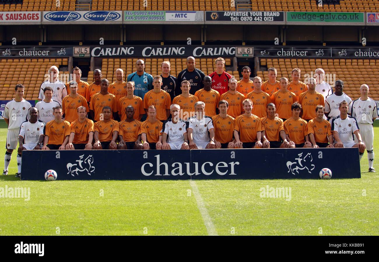 Wolverhampton Wanderers squad back row LtoR Dave Plant, ; Chris Cornes; Rohan Ricketts; Denes Rosa; Carl Ikeme; Stock Photo