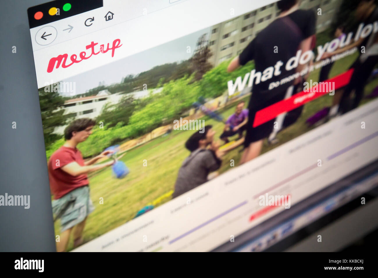 The Meetup social network website is seen on Tuesday, November 28, 2017. WeWork announced that it is buying Meetup - Stock Image