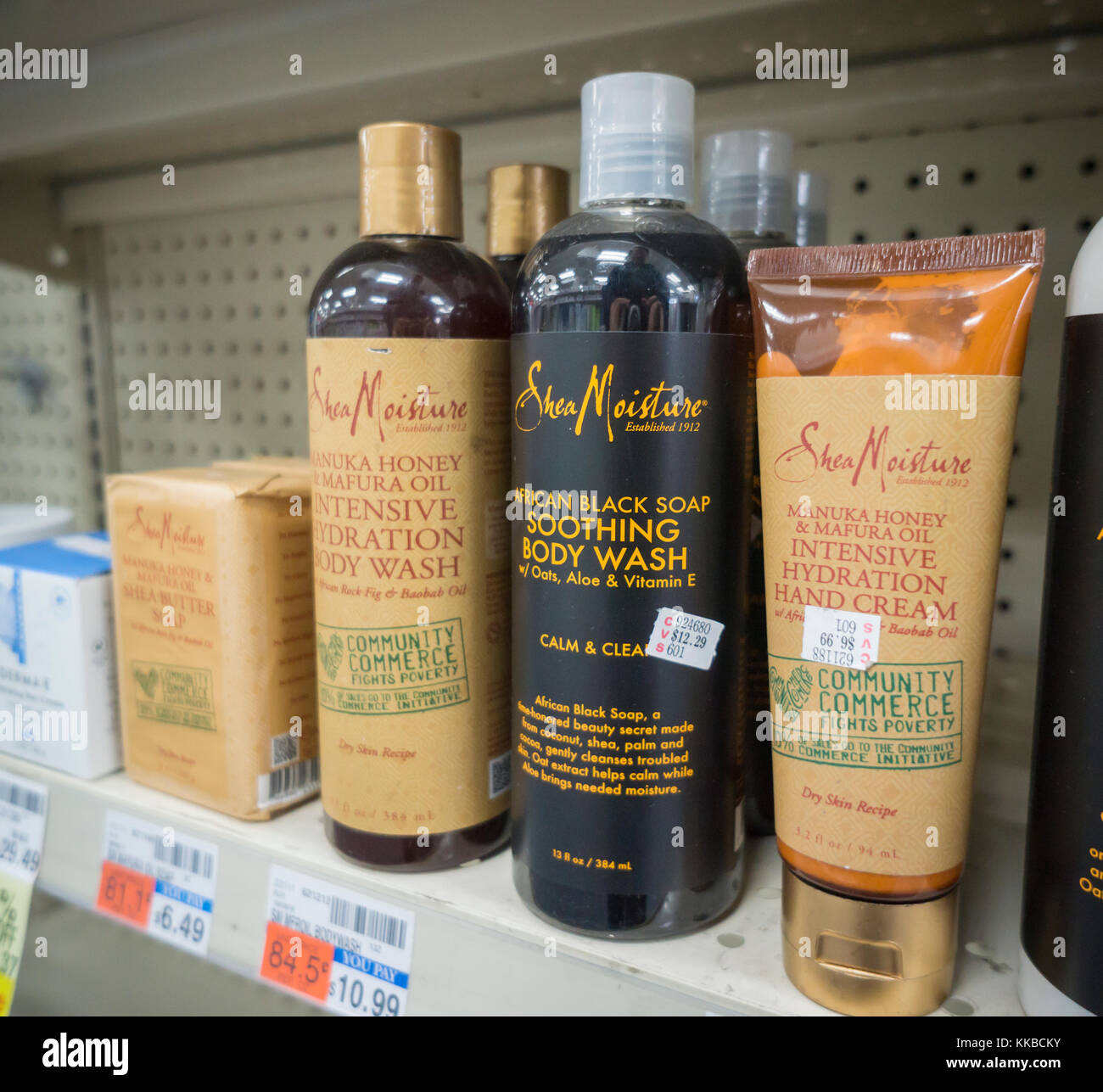 Bottles of Sundial Brands' Shea Moisture beauty products in a drugstore in New York on Tuesday, November 28, - Stock Image