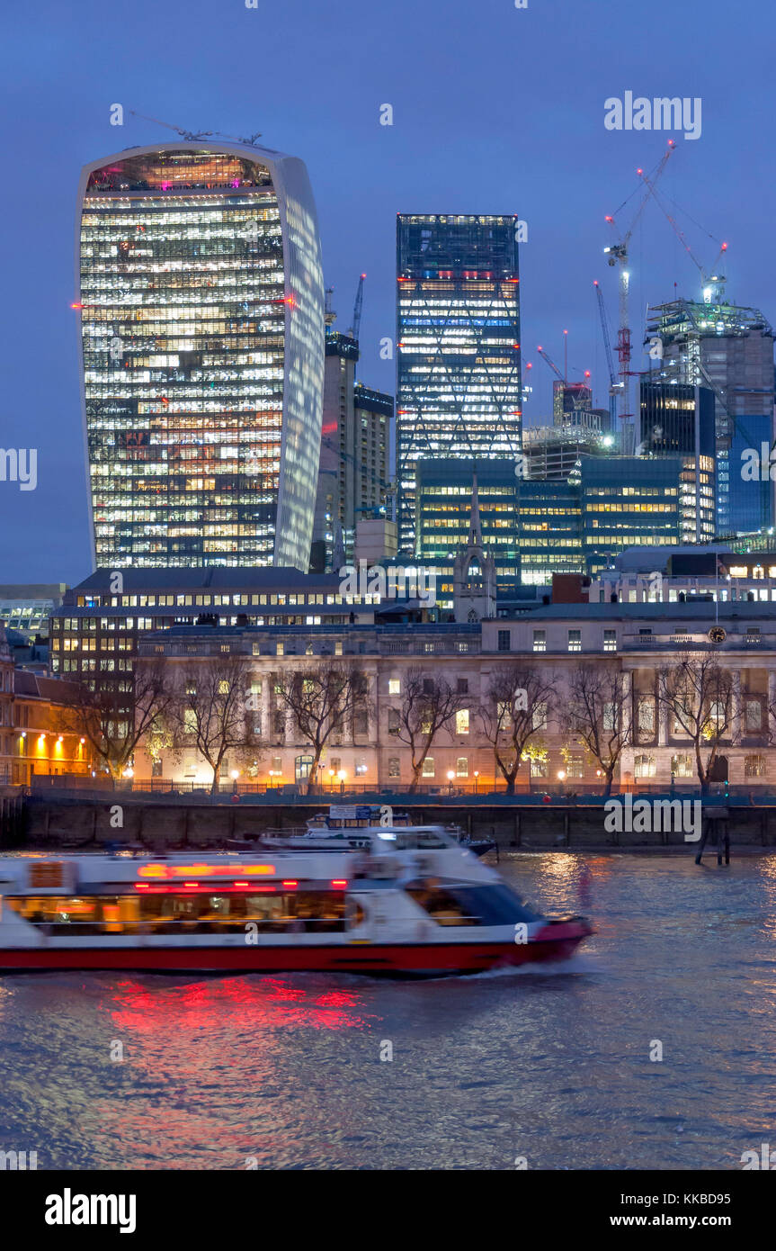 20 Fenchurch Street (walkie-talkie) building across River Thames at dusk, City of London, Greater London, England, - Stock Image