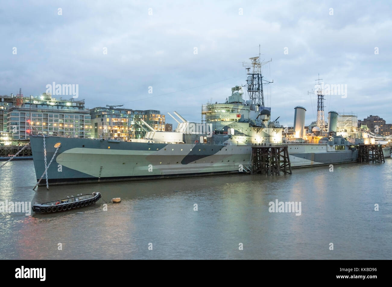 HMS Belfast Museum Ship, The Queen's Walk, Southwark, The London Borough of Southwark, Greater London, England, - Stock Image