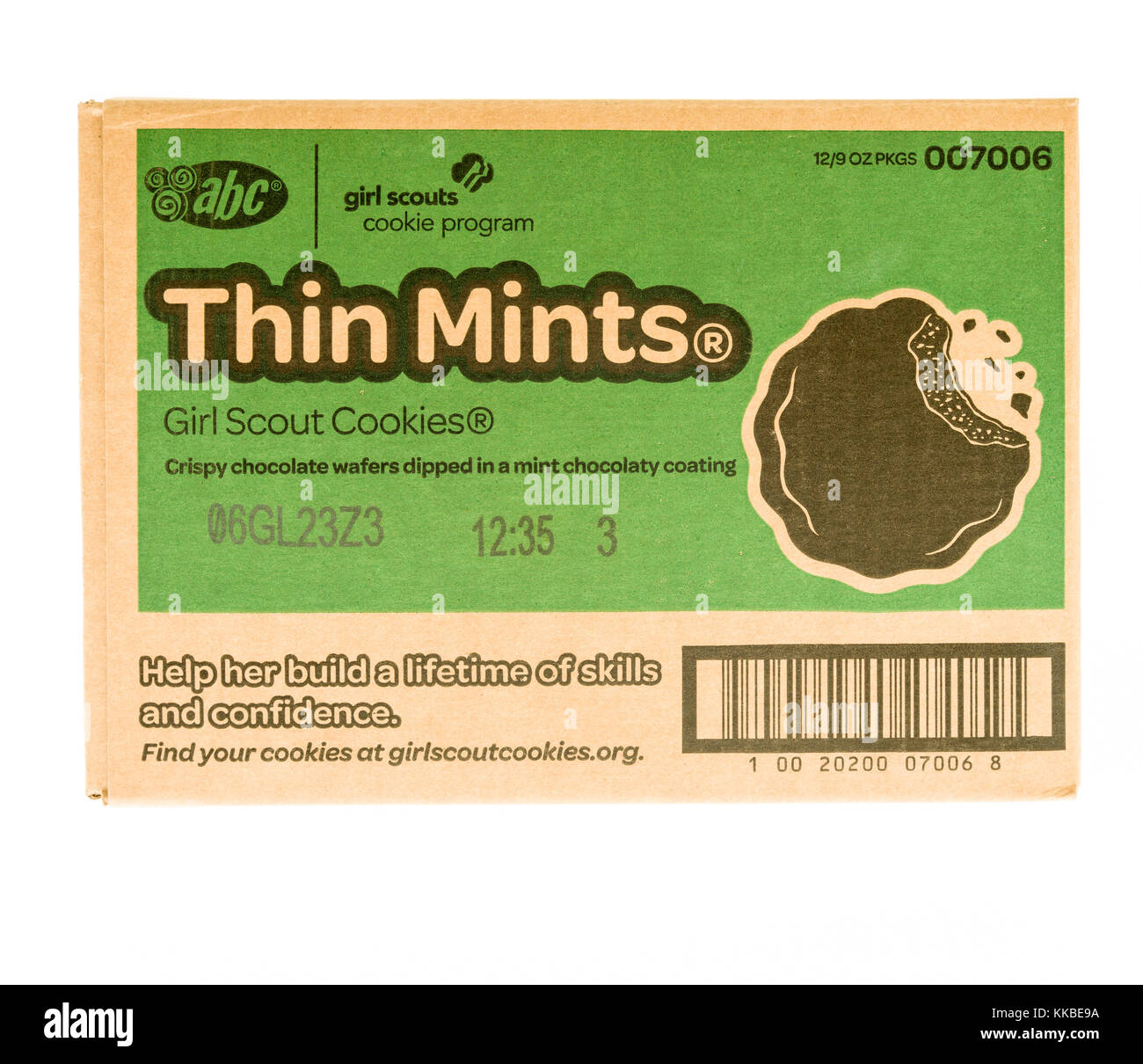 Winneconne, WI - 20 November 2017:  A case of Thin Mints girl scout cookies on an on an isolated background. - Stock Image