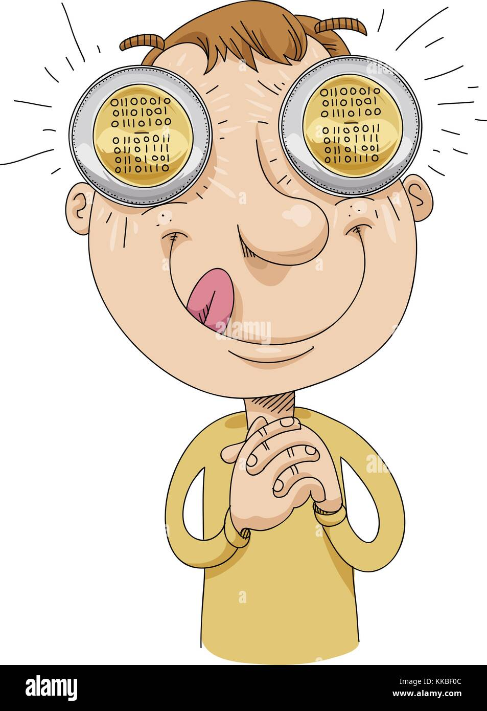 A greedy cartoon man with bitcoins in his eyes thinks about speculative wealth. The word bitcoin appears on the - Stock Vector