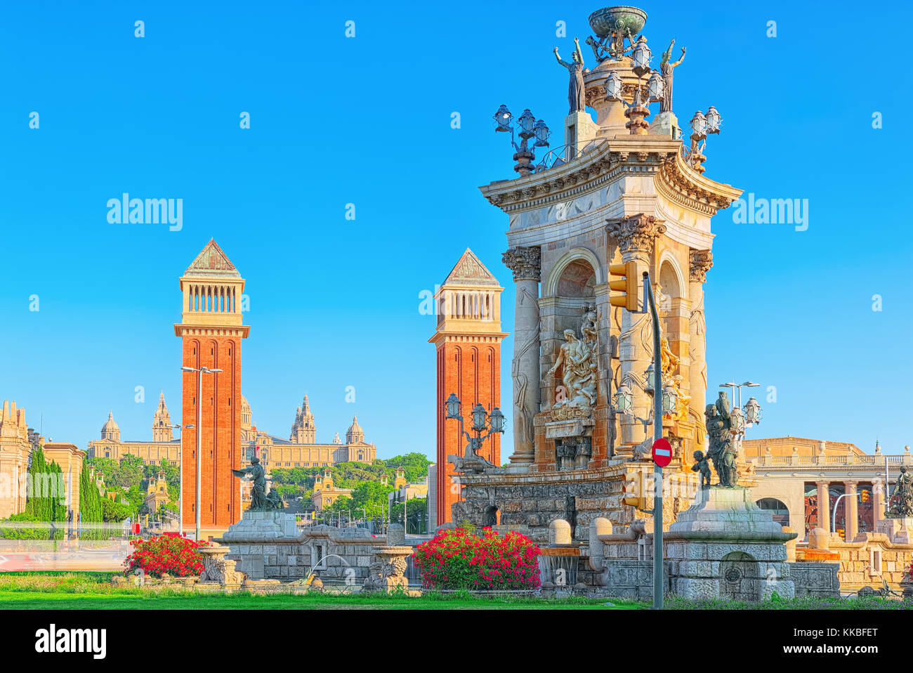Panorama  Square of Spain (Placa De Espanya),in Barcelona - capital of the autonomy of Catalonia. Spain. - Stock Image