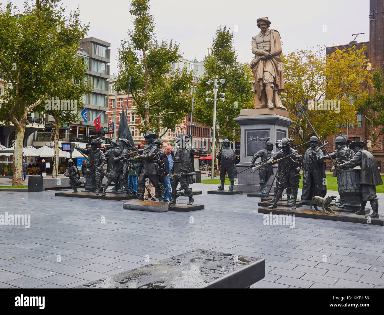 1852 cast iron statue of Rembrandt by Louis Royer and bronze casts based on Rembrandt's painting the Night Watch, - Stock Image