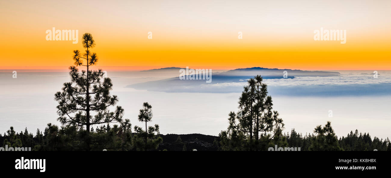 Looking westwards at sunset over the Atlantic Ocean towards the islands of La Gomera and El Hierro from pine forest - Stock Image
