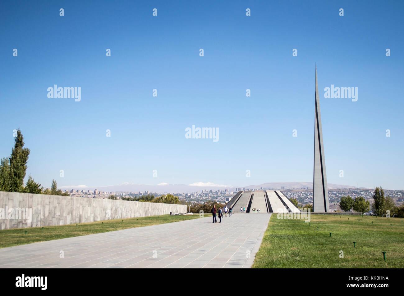 Yerevan, Armenia - October 8, 2017: Tsitsernakaberd - the Armenian Genocide Memorial in Yerevan, Armenia. Built - Stock Image