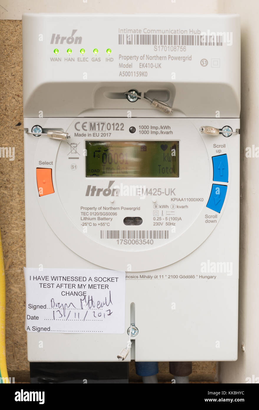 Northern Powergrid Itron smart electric meter with an