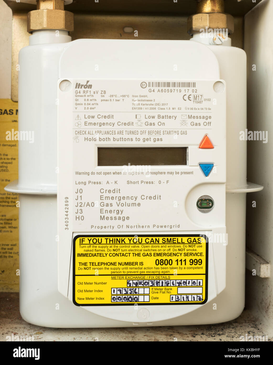 Northern Powergrid Itron smart gas meter fitted in a domestic house, north east England, UK - Stock Image