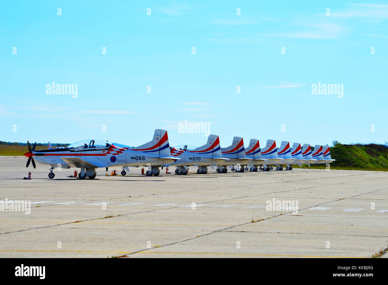 Croatian AF aerobatics team Krila Oluje  planes, Pilatus PC9 resting on the airport apron before the flight , Zemunik - Stock Image