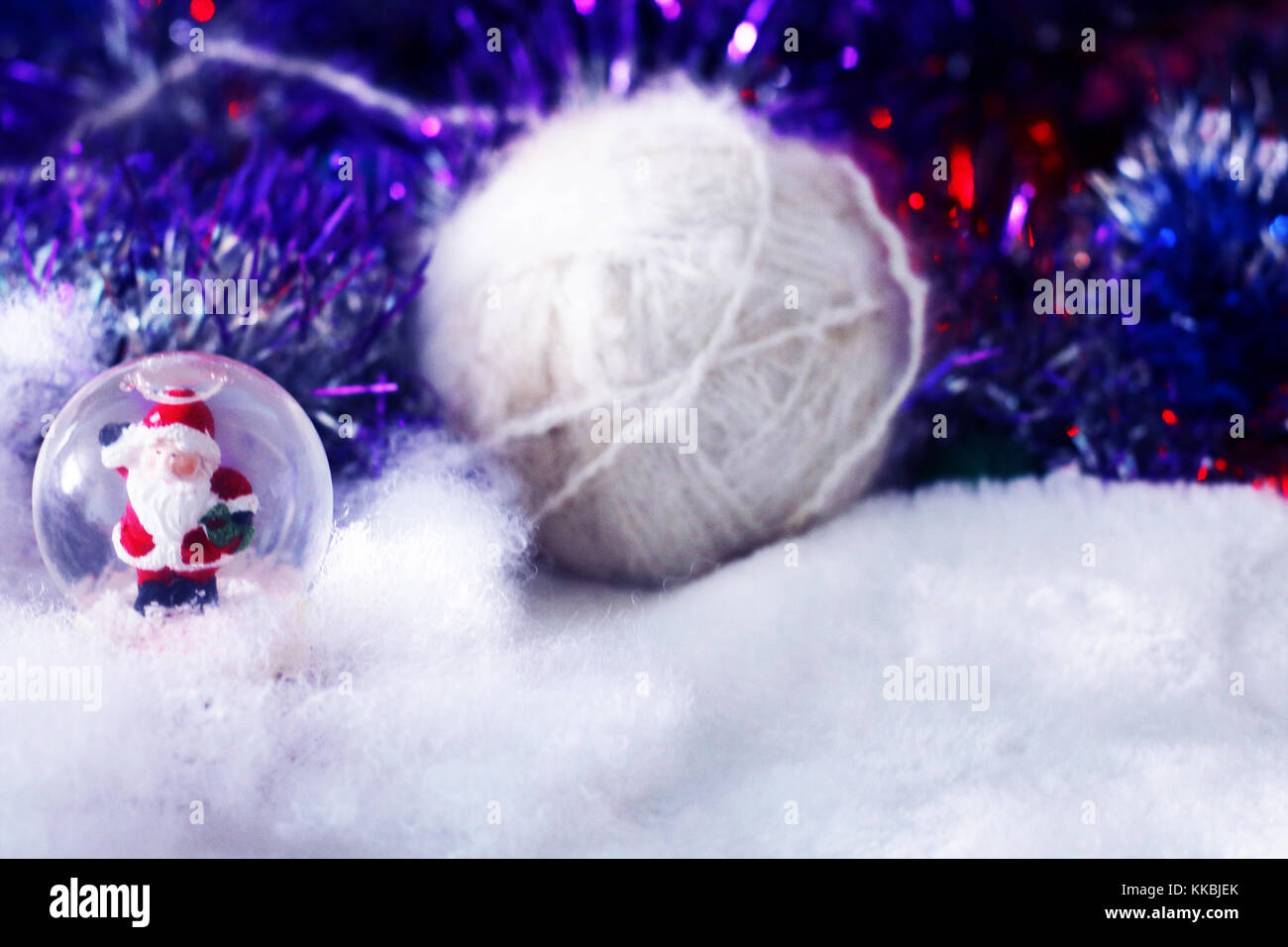 3c9e23925cb89 Christmas and new year background with santa claus in glass ball ...