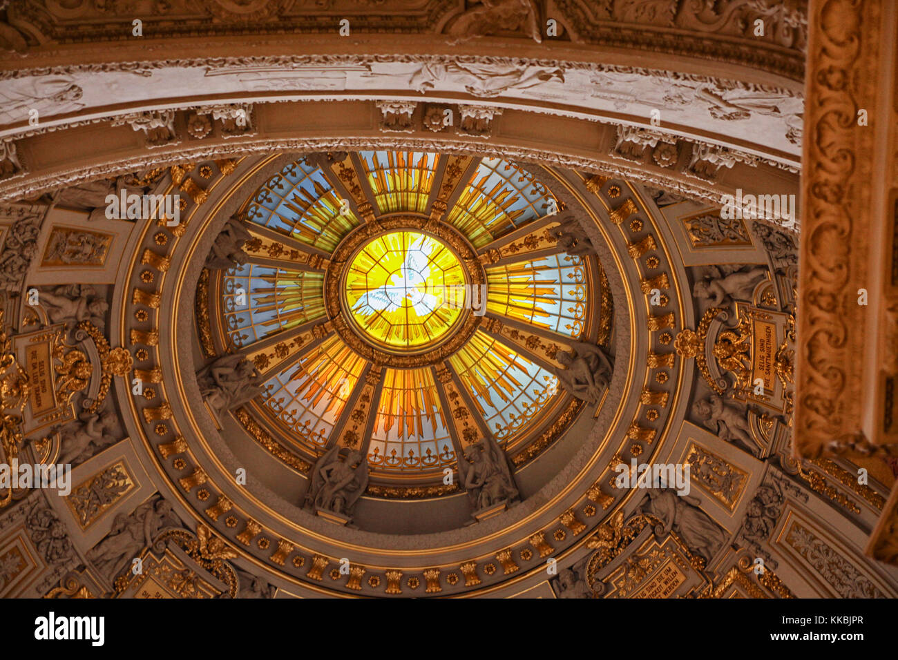 Ceiling decoration of Berlin cathedral (Berliner Dom). The current building was finished in 1905. - Stock Image