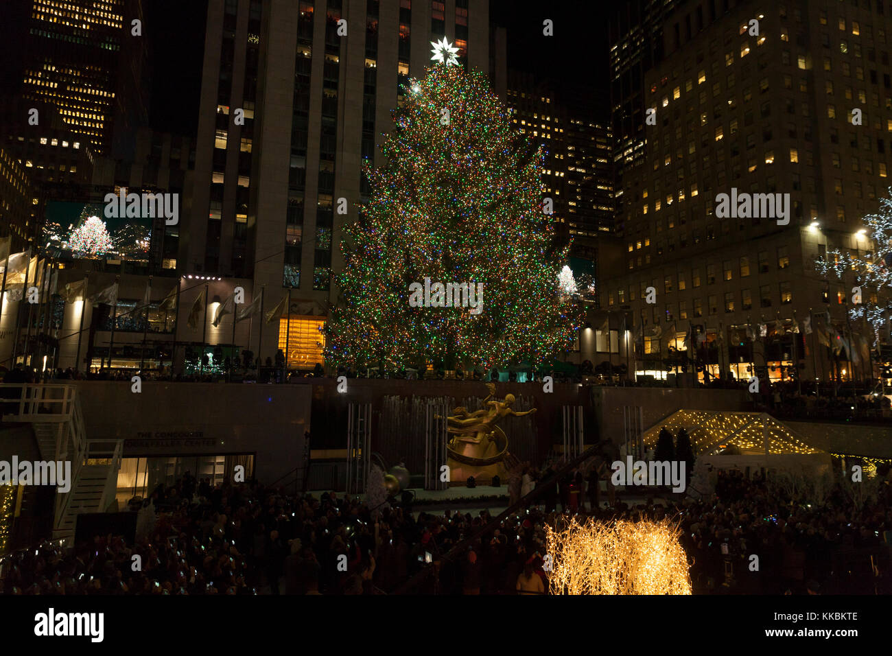 New York, NY - November 29, 2017: Christmas tree lit during the 85th ...