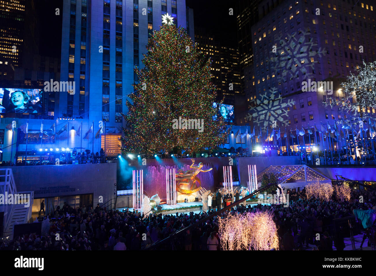 New York NY - November 29 2017 Atmosphere during the 85th Rockefeller Center Christmas Tree Lighting at Rockefeller Center hosted by NBC & New York NY - November 29 2017: Atmosphere during the 85th Stock ...