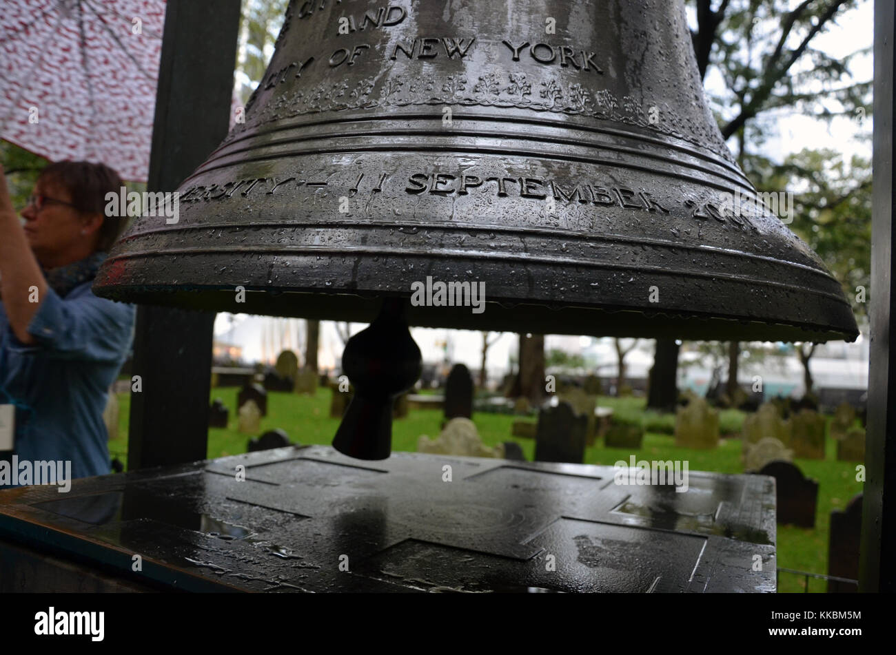 The Bell of Hope at St. Paul's Chapel Ground Zero New York City - Stock Image