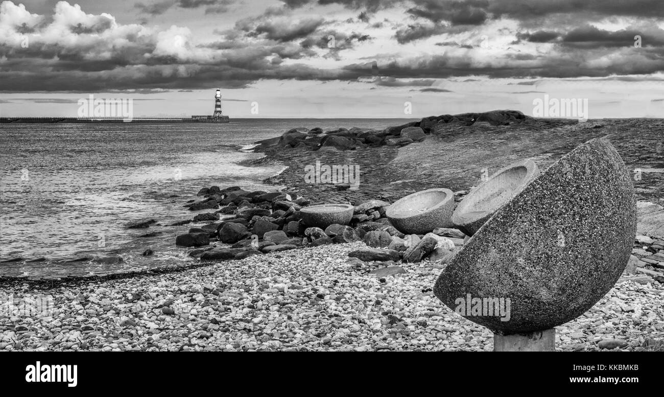 Sunderland beach sculptures Roker - Stock Image