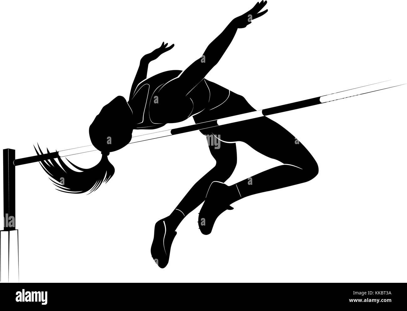 Vector silhouette female athlete jumping over the bar. High jump athletic competition background Stock Vector