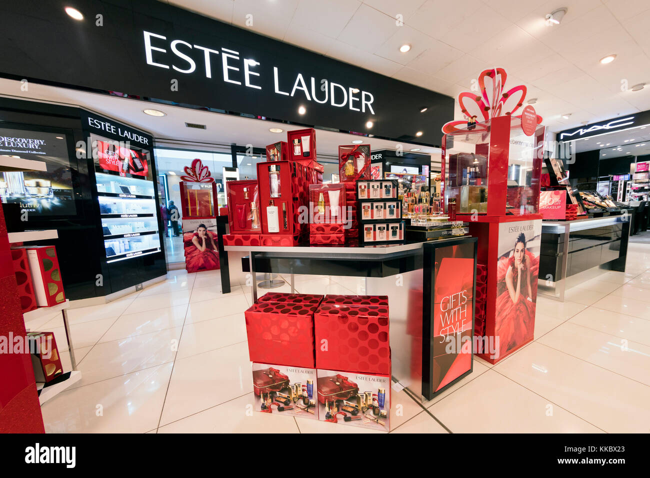 Estee Lauder counter in a store, UK. - Stock Image
