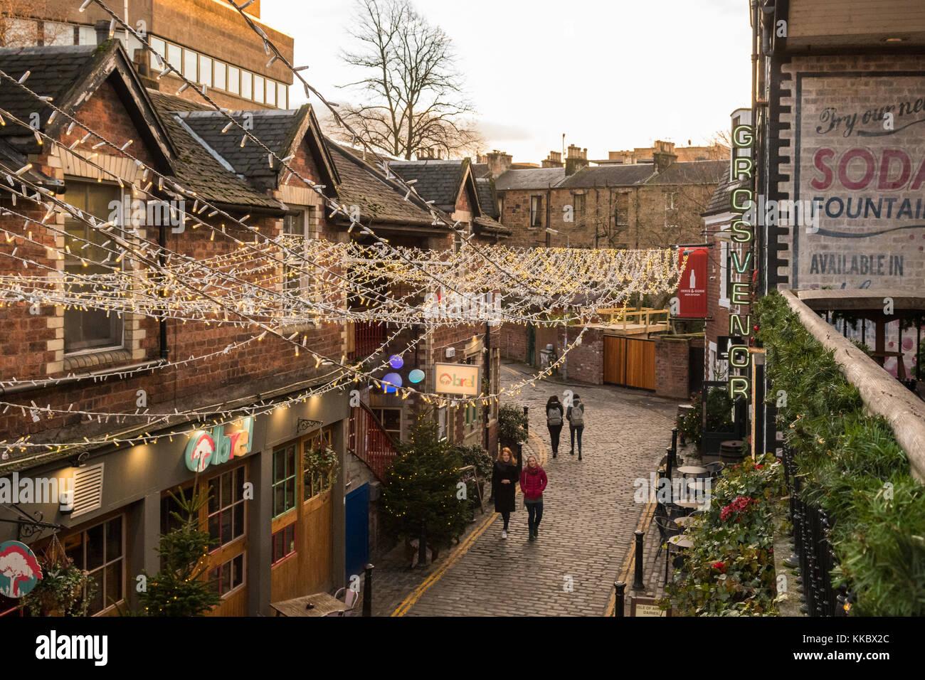 Ashton Lane in Glasgow's West End, Scotland, UK - Stock Image