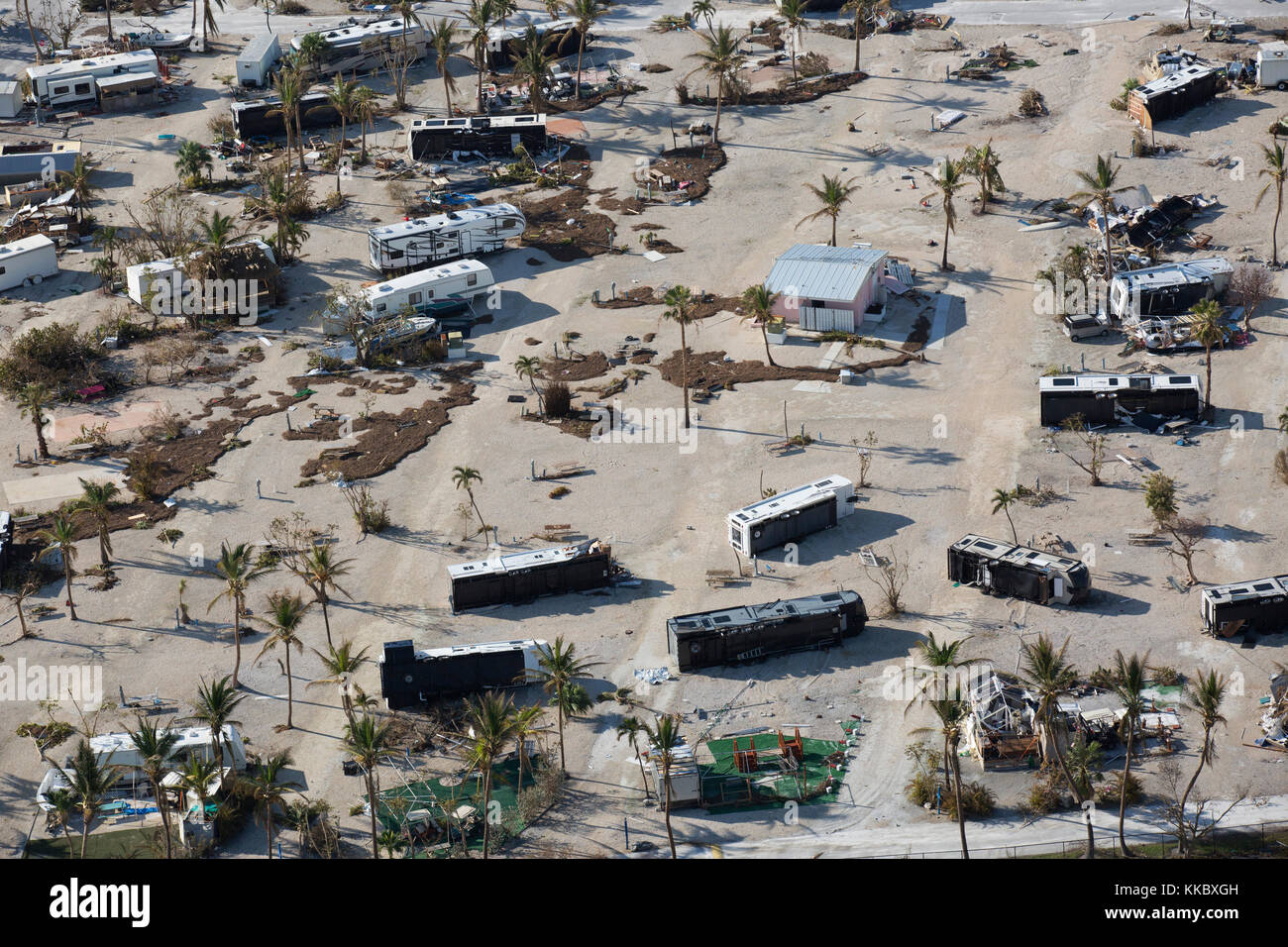 Aerial view of damaged RVs and trailers strewn around a trailer park in the aftermath of Hurricane Irma September Stock Photo