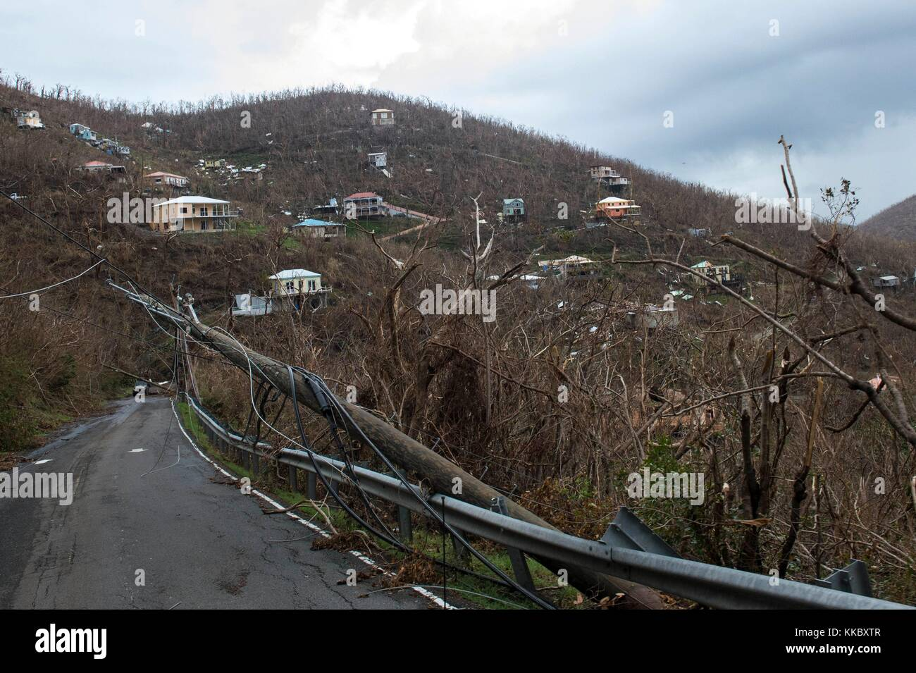 Debris and damaged homes in the aftermath of Hurricane Irma September 14, 2017 in St. John, U.S. Virgin Islands. - Stock Image