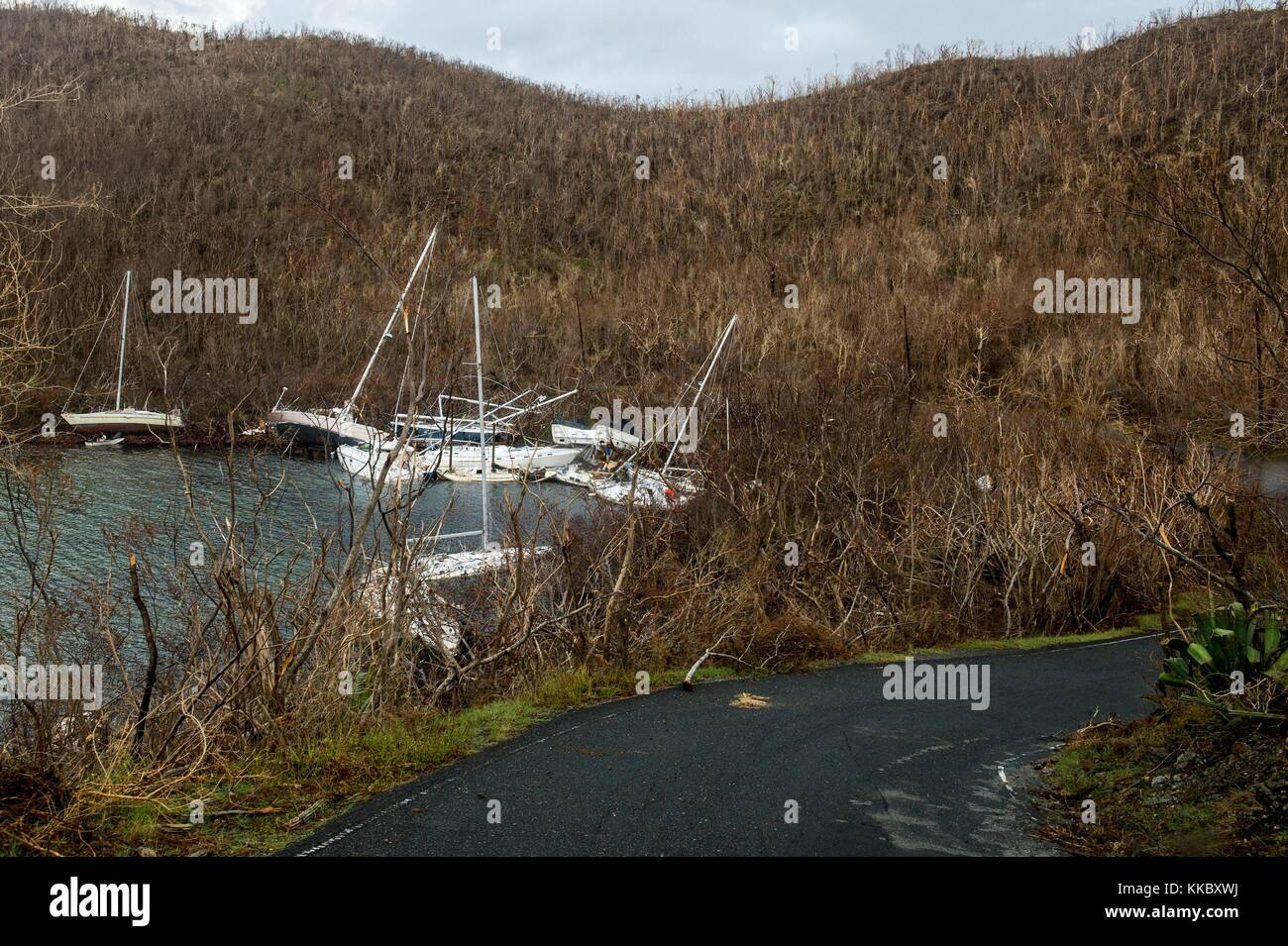 Debris and damaged boats in the aftermath of Hurricane Irma September 14, 2017 in St. John, U.S. Virgin Islands. - Stock Image