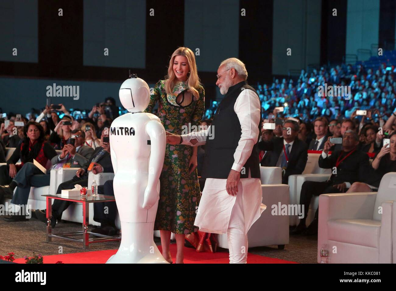 Indian Prime Minister Narendra Modi, right, introduces Ivanka Trump, daughter of U.S. President Donald Trump, to - Stock Image