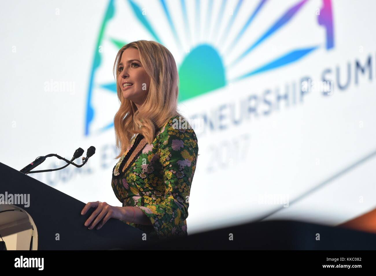 Ivanka Trump, daughter of U.S. President Donald Trump, addresses the Global Entrepreneurship Summit at the Hyderabad - Stock Image