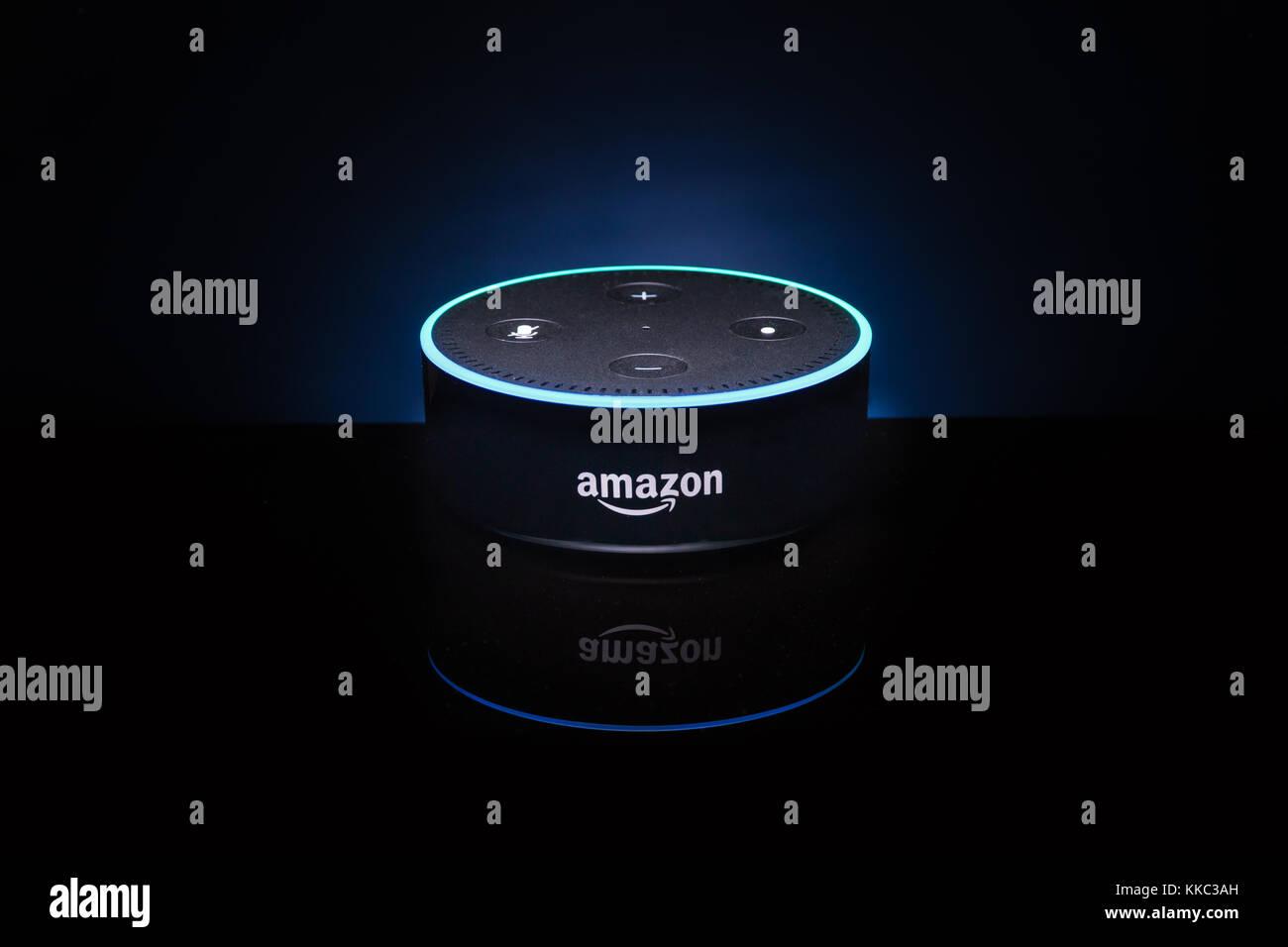 An Amazon 'Alexa' Echo Dot device - Stock Image