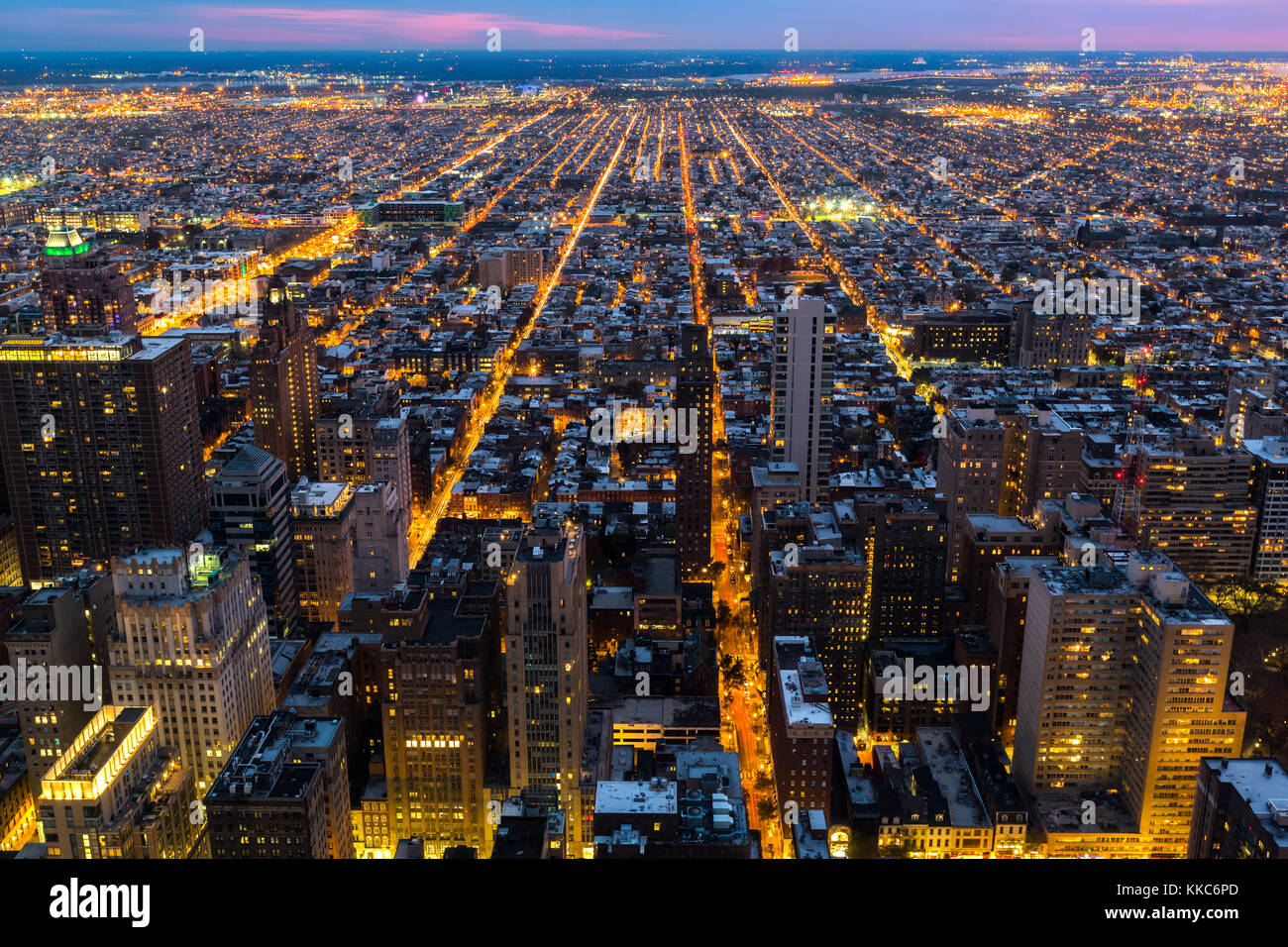 Aerial view of Philadelphia with city streets converging towards the edge of the metropolitan area - Stock Image