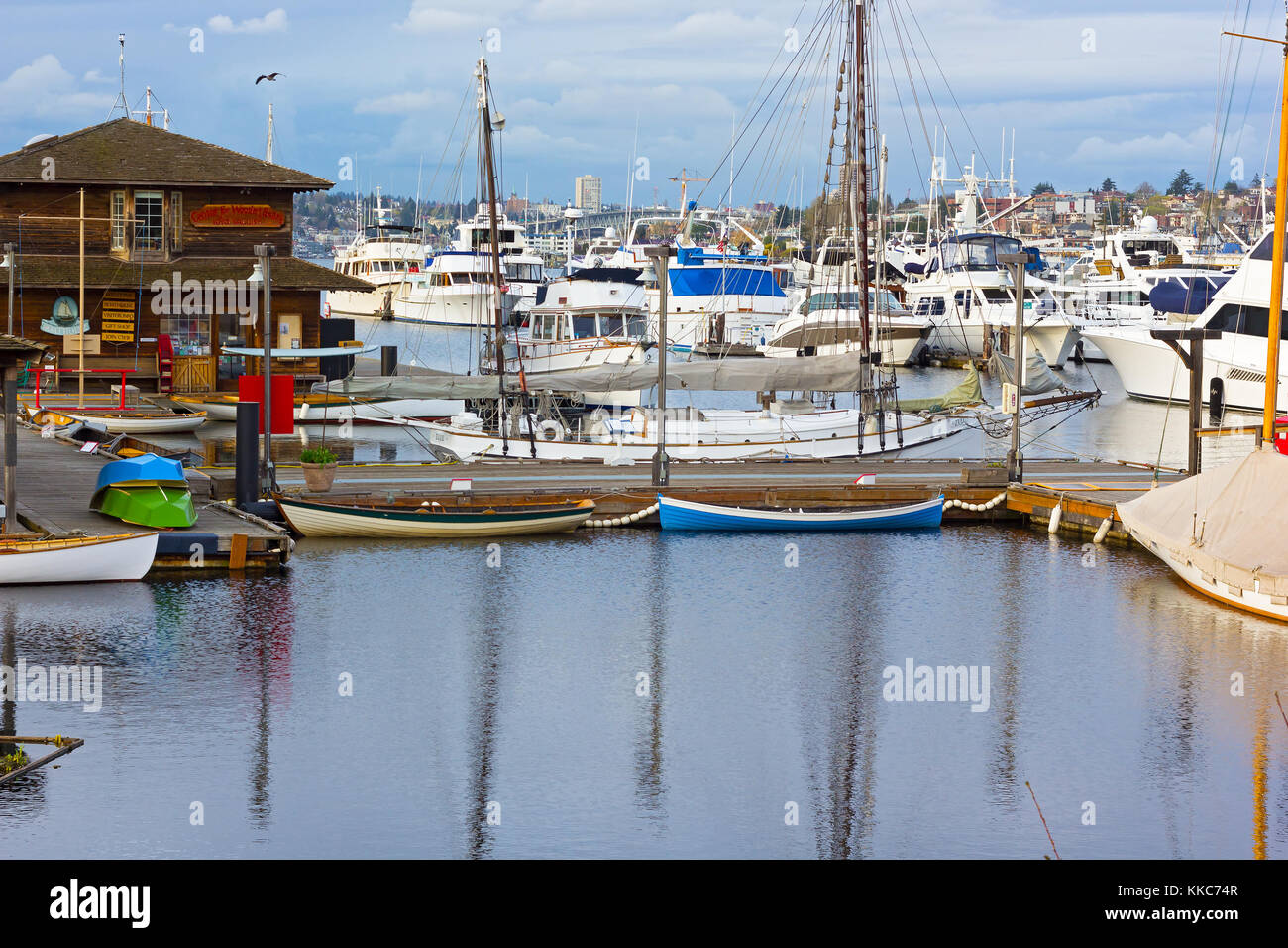SEATTLE, USA – MARCH 22, 2016: Center for Wooden Boats museum on Lake Union on March 22, 2016 in Seattle, WA, USA. - Stock Image