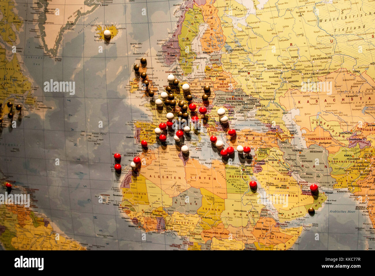 Red map pin in road stock photos red map pin in road stock images picture of world map travel concept with many pushpins pins in europe and surrounding stock gumiabroncs Choice Image