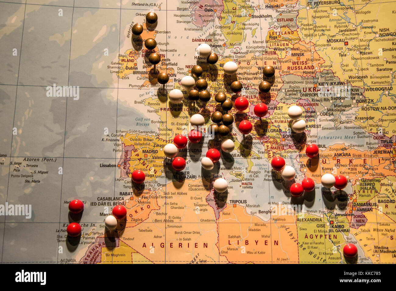 World Map Travel Pins.Picture Of World Map Travel Concept With Many Pushpins Pins In