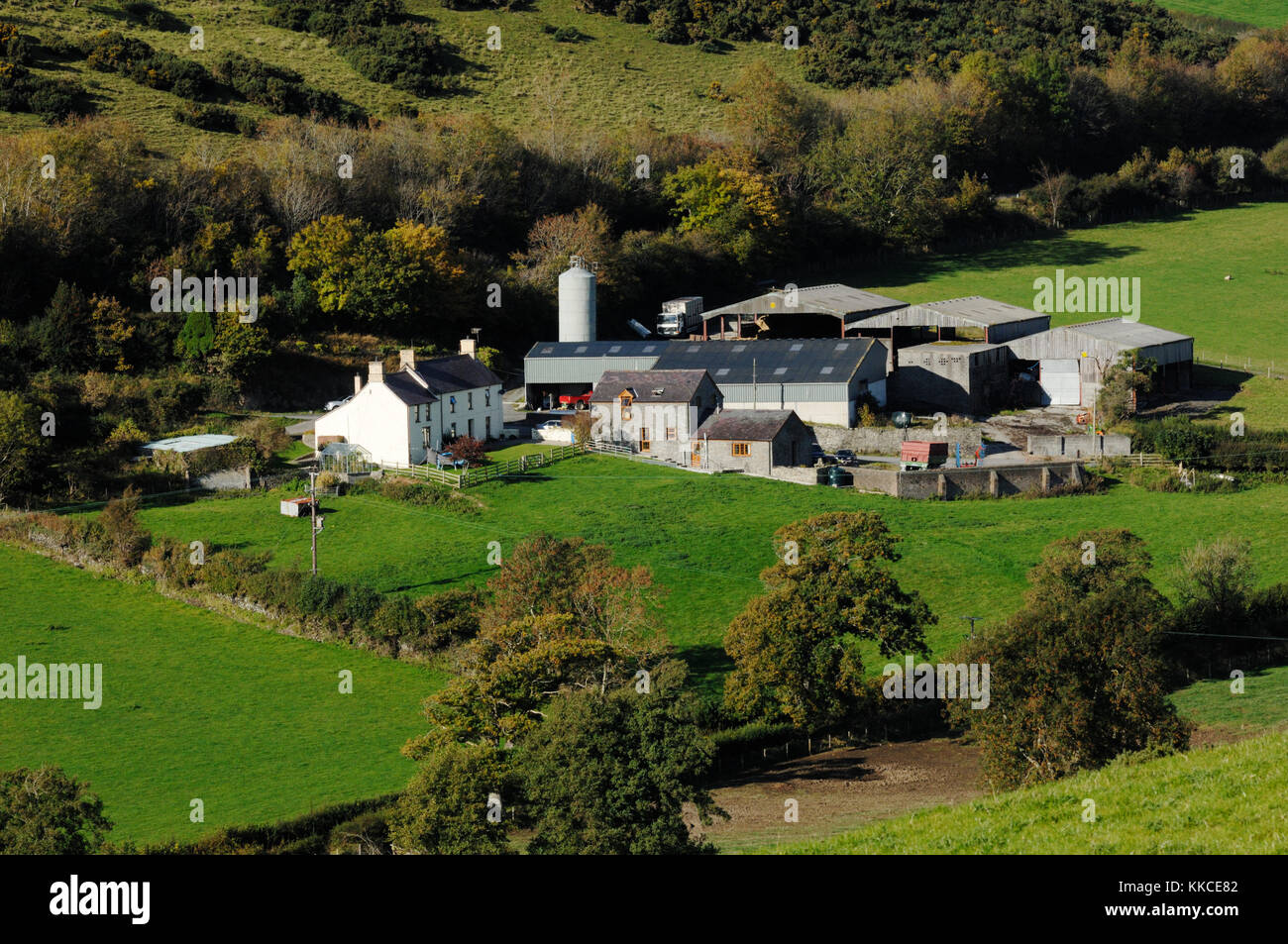 Lowland mixed arable and livestock farm complex,Llanrhystud,  Wales, UK. Stock Photo