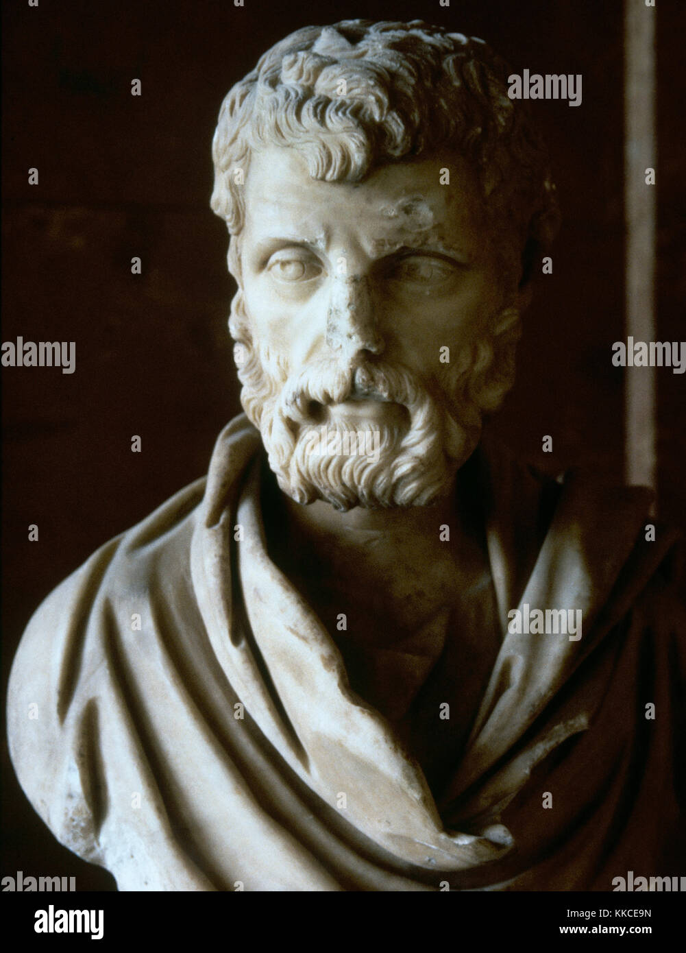 Herodes Atticus (101-177 AD). Greek aristocrat and sophist who served as a Roman senator. Marble bust. 162 AD. Louvre - Stock Image