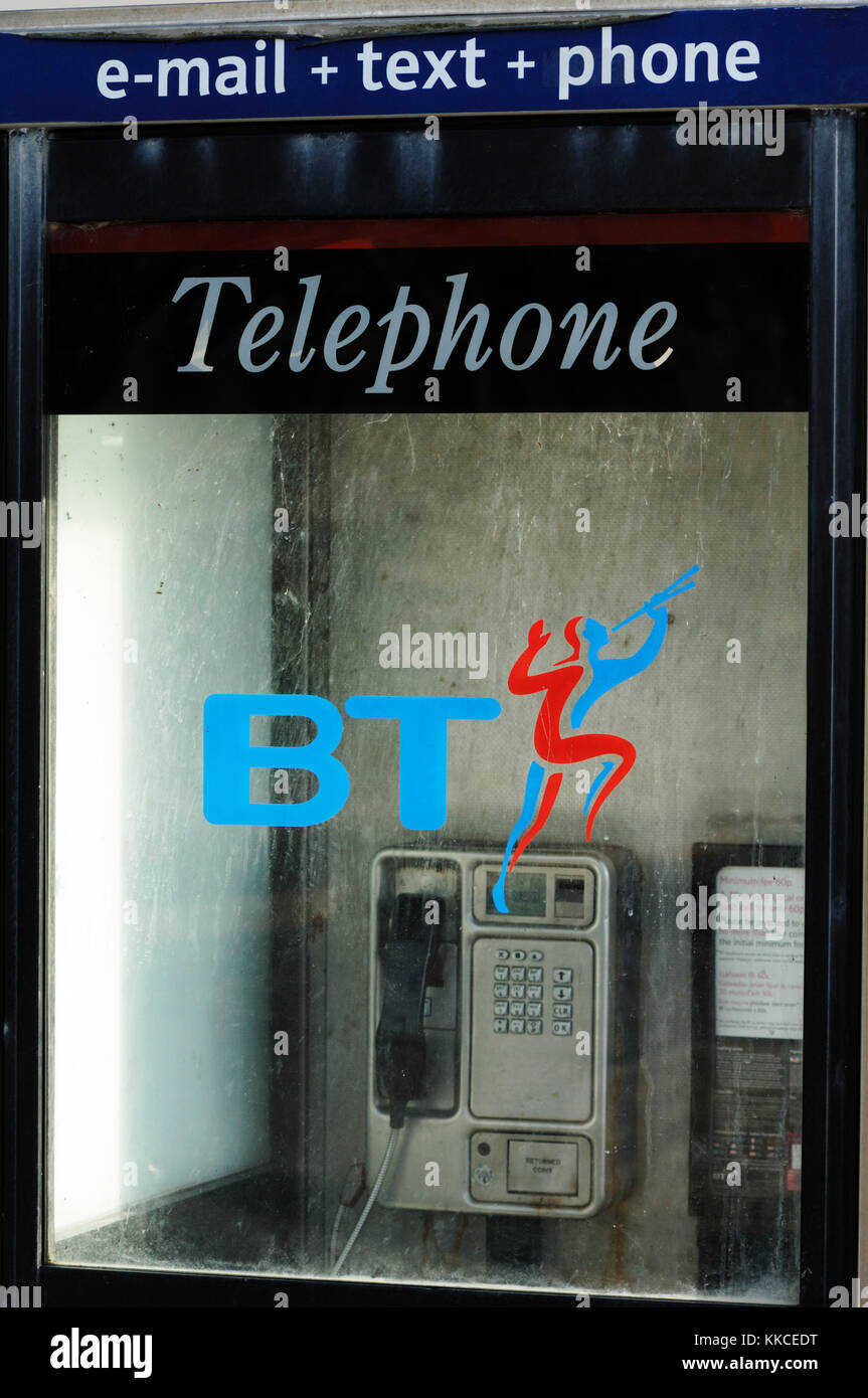 British Telecom phone box, Wales. - Stock Image