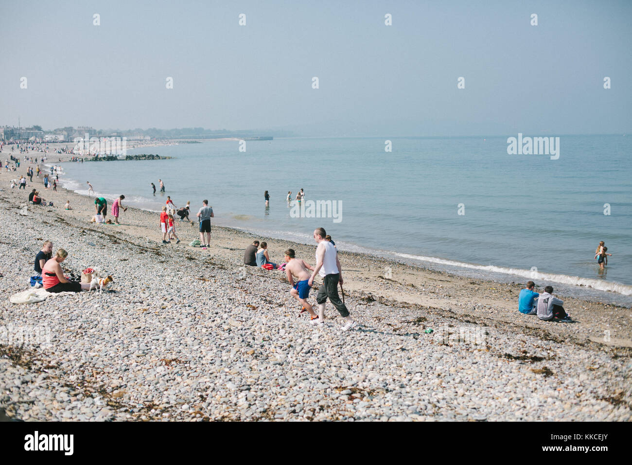 People on the stony beach in Bray enjoying sunny May day realxing , walking and having fun in the water. - Stock Image