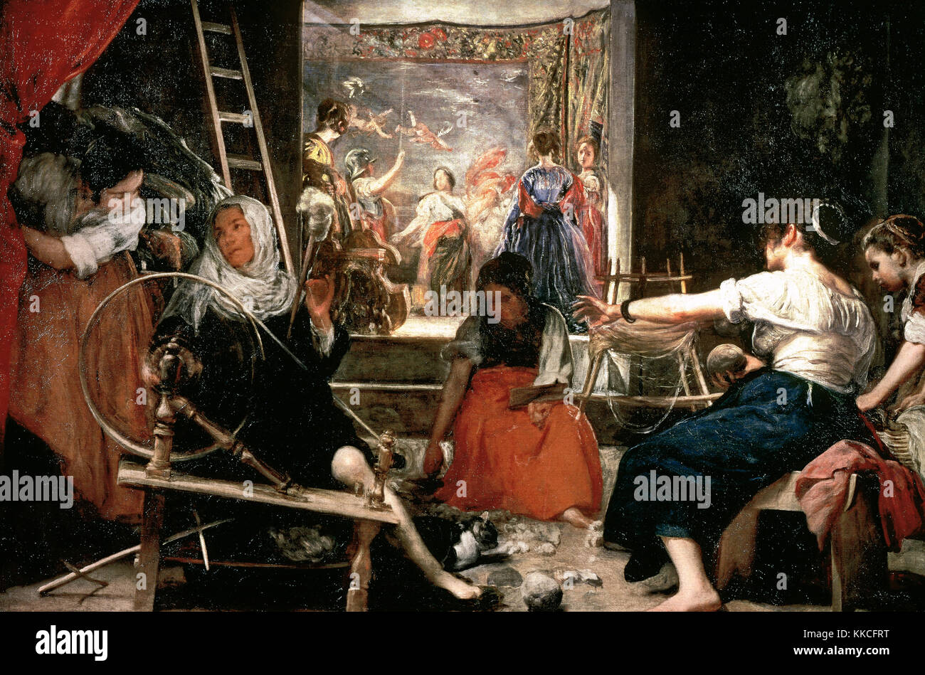 Diego Velazquez (1599-1660). Spanish painter. The Spinners or de The Fable of Arachne, 1657. Prado Museum. Madrid. - Stock Image