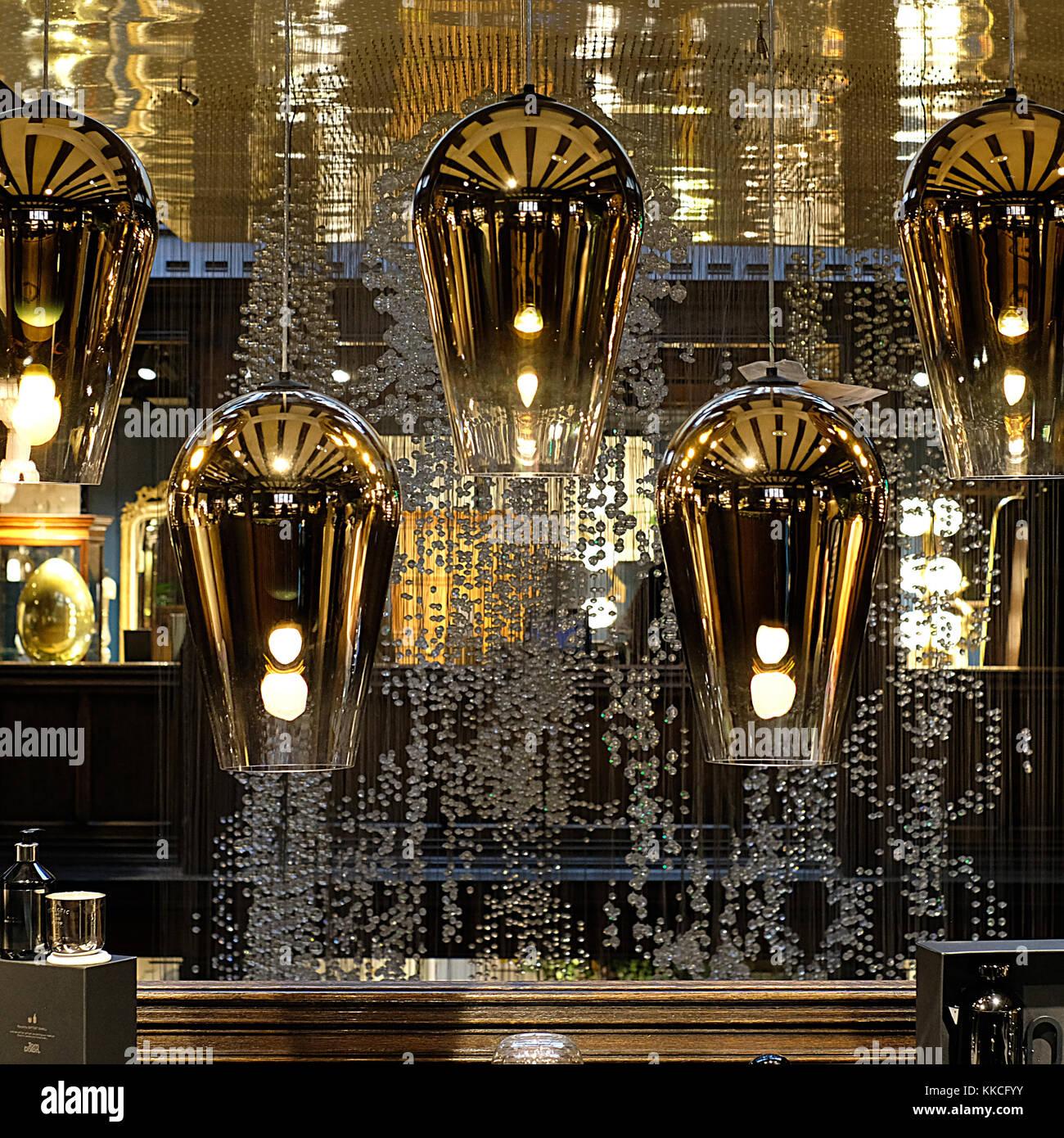 Tom Dixon pendant lights hanging in the Liberty of London store, Regent Street London UK. Stock Photo