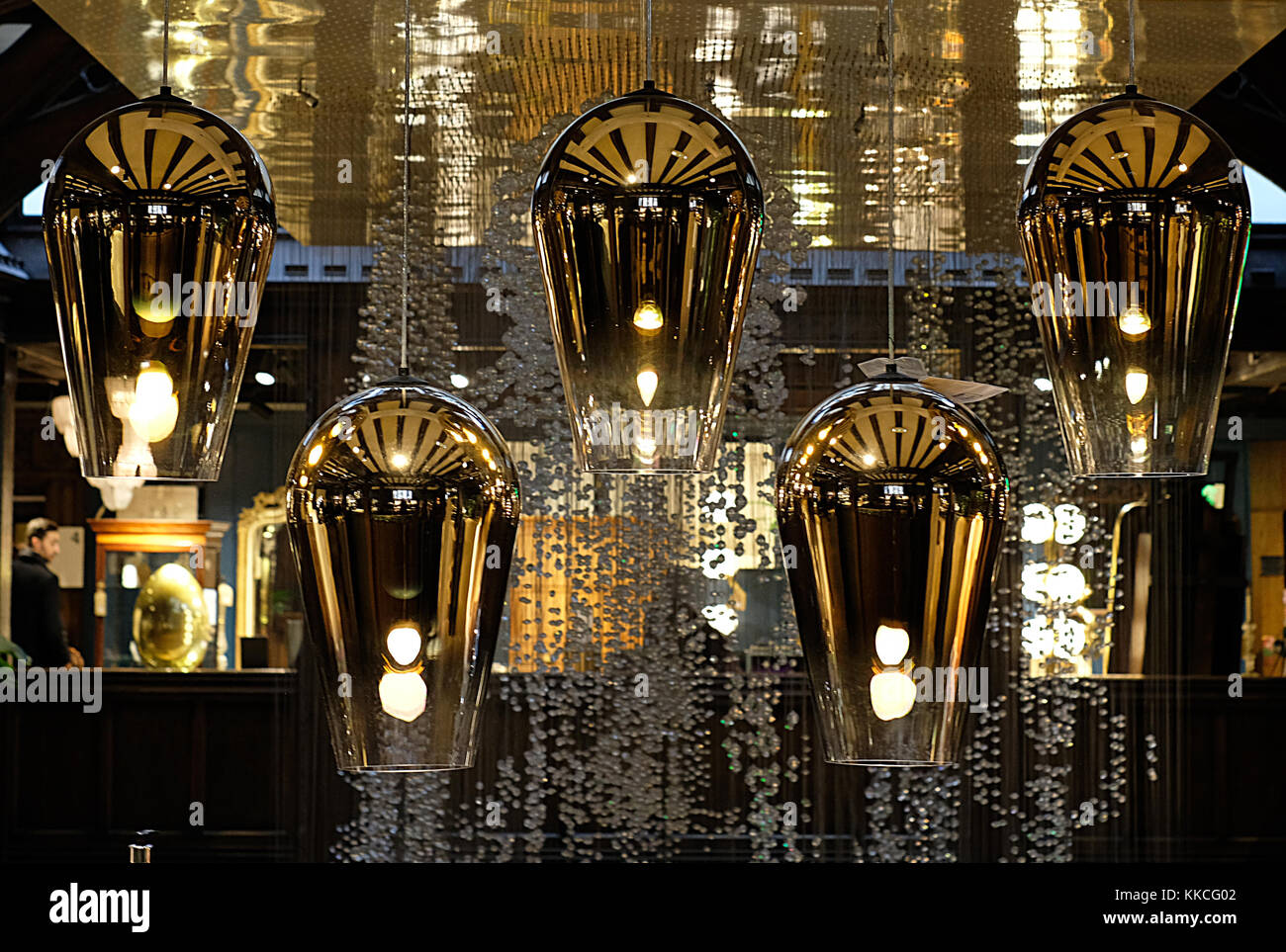 Tom Dixon Pendant Lights Hanging In The Liberty Of London Regent Street Uk