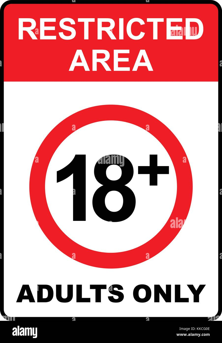 Restricted area, 18+, adults only sign, vector illustration. - Stock Vector