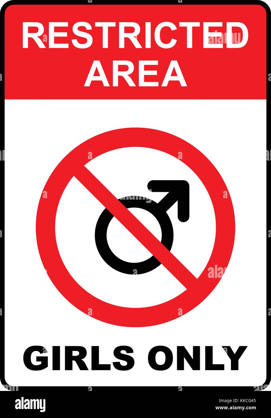 Restricted area, girls only sign, vector illustration. - Stock Image