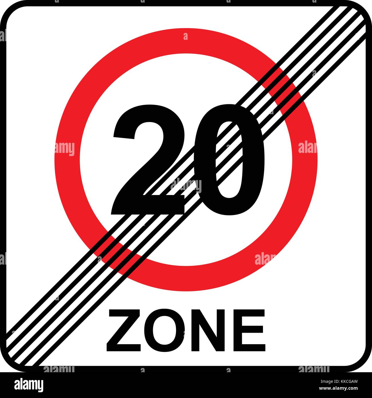 Speed limit 20 zone end sign, vector illustration. - Stock Vector